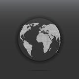 Globe icon dotted. White color vector illustration isolated on dark background Royalty Free Stock Images