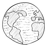Globe icon, hand drawn style. Globe icon. Hand drawn illustration of globe vector icon for web Royalty Free Stock Photos