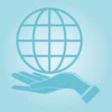 Globe icon with hand, vector illustration. Stock Photo
