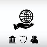 Globe icon with hand, vector illustration. Flat design style Royalty Free Stock Photos