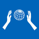 Globe Icon with Hands on Blue Background. Vector Stock Photo