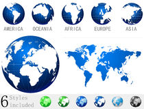 Globe icon|map of the world Stock Image