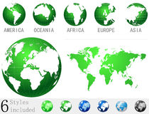 Globe icon|map of the world Royalty Free Stock Images