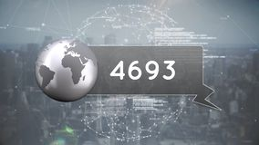 Globe icon with numbers vector illustration