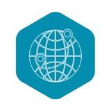Globe icon, outline style. Globe icon. Outline illustration of globe vector icon for web stock illustration