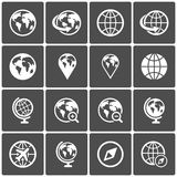 Globe icon pack on dark background. Vector Stock Photography