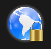 Globe Icon with Protection Lock Vector Royalty Free Stock Photos