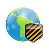 Globe Icon with Protection Shield Vector Royalty Free Stock Photo