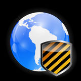 Globe Icon with Protection Shield Vector Royalty Free Stock Images
