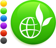 Globe icon on round internet button Royalty Free Stock Photo