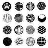 Globe Icon Set. Set of globe icon set in black royalty free stock photo
