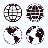 Globe icon set. Globe icon set on a light background Royalty Free Stock Images