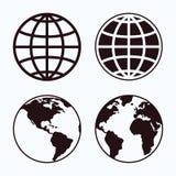 Globe icon set. Royalty Free Stock Images
