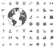 Globe icon. Sport illustration vector set icons. Set of 48 sport icons. Globe icon. Sport illustration vector set icons. Set of 48 sport icons Royalty Free Stock Images