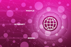 Globe icon with words. On abstract pink background Royalty Free Stock Image
