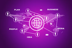 Globe icon with world map. On abstract purple background Royalty Free Stock Photos
