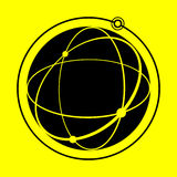 Globe icon. On yellow background Royalty Free Stock Images