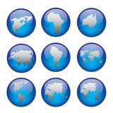 Globe icons. Set of vector globe icons showing earth with all continents. Vector illustration Royalty Free Stock Photos