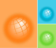 Globe icons. A set of three globe icons in orange, blue and green Stock Image