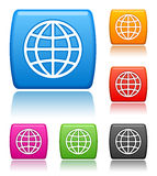 Globe icons. Vector buttons with globe icons Royalty Free Stock Photo