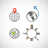 Globe icons collection Stock Photography