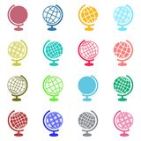 Globe icons. Colorful abstract globe icons on white background Stock Photo