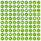 100 globe icons hexagon green. 100 globe icons set in green hexagon isolated vector illustration Stock Image