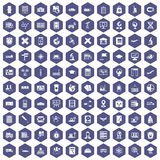 100 globe icons hexagon purple. 100 globe icons set in purple hexagon isolated vector illustration Stock Photos