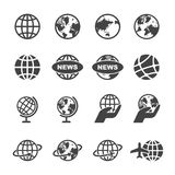 Globe icons. Mono vector symbols Royalty Free Stock Images