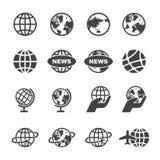 Globe icons. Mono vector symbols stock illustration