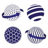 Globe icons set on blue. Global logistics network concept. Stock . Vector illustration EPS10 royalty free illustration