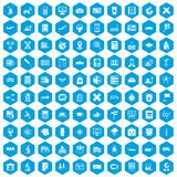 100 globe icons set blue. 100 globe icons set in blue hexagon isolated vector illustration stock illustration