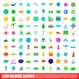100 globe icons set, cartoon style Stock Photos