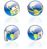 The Globe Icons Set - Design Elements 54a. It's a high resolution image with clipping path for easy remove unwanted shadows underneath Royalty Free Stock Photo
