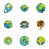 Globe icons set, flat style. Globe icons set. flat set of 9 globe vector icons for web isolated on white background Stock Photos