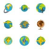 Globe icons set, flat style. Globe icons set. flat set of 9 globe icons for web isolated on white background stock illustration