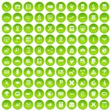 100 globe icons set green circle. Isolated on white background vector illustration Stock Image