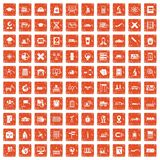 100 globe icons set grunge orange. 100 globe icons set in grunge style orange color isolated on white background vector illustration Stock Image
