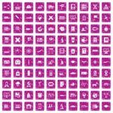 100 globe icons set grunge pink. 100 globe icons set in grunge style pink color isolated on white background vector illustration royalty free illustration