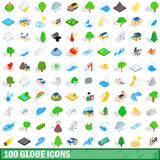100 globe icons set, isometric 3d style. 100 globe icons set in isometric 3d style for any design vector illustration Stock Image