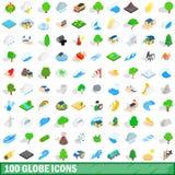 100 globe icons set, isometric 3d style Stock Image