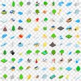 100 globe icons set, isometric 3d style Royalty Free Stock Image