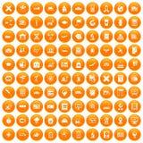 100 globe icons set orange. 100 globe icons set in orange circle isolated on white vector illustration royalty free illustration