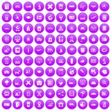 100 globe icons set purple. 100 globe icons set in purple circle isolated on white vector illustration royalty free illustration