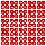 100 globe icons set red. 100 globe icons set in red circle isolated on white vector illustration Royalty Free Stock Photos