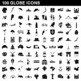 100 globe icons set, simple style Royalty Free Stock Images