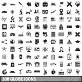 100 globe icons set, simple style Royalty Free Stock Image