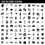 100 globe icons set, simple style. 100 globe icons set in simple style for any design illustration vector illustration