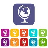 Globe icons set. Vector illustration in flat style in colors red, blue, green, and other vector illustration