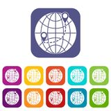 Globe icons set. Vector illustration in flat style in colors red, blue, green, and other Royalty Free Illustration
